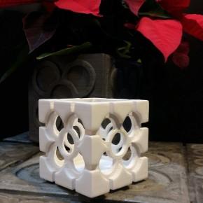 Cubic openwork planter Bilbao Rosette