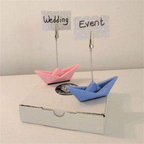 2 mini origami sailboats photo holder clip