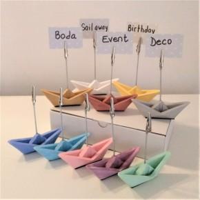 10 mini veleros origami con clip portafotos