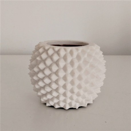 Mini sea urchin pot with a golden or silvered metal finish