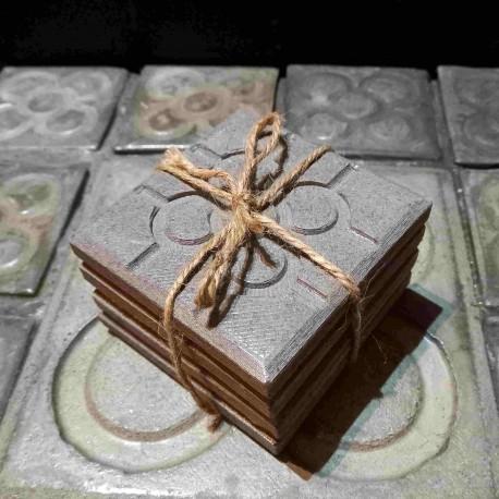 4 coasters Bilbao rosette tile in concrete