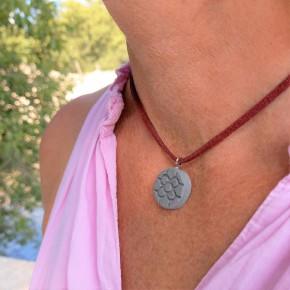 Bilbao necklace, round small Bilbao Flower pendant