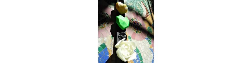 Rosa, corazón, estrella y letra  3D