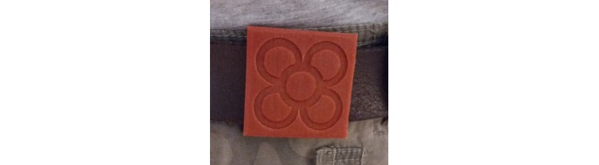 3 Decorative Belt or Strap Buckles, Panot, flexible rubber, Barcelona tile Flower